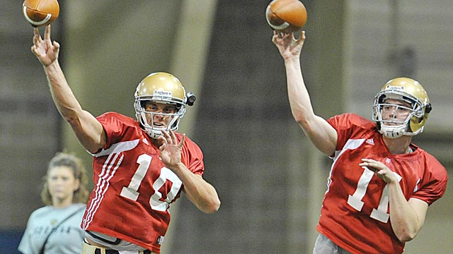 Senior Dayne Crist and sophomore Tommy Reese are locked in an August QB battle. (US Presswire)