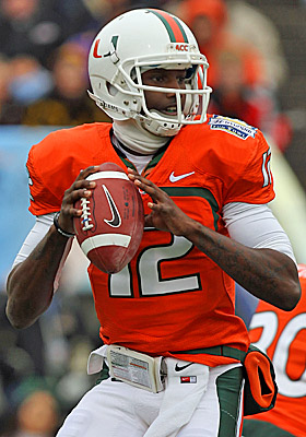 Jacory Harris hopes he will be cleared in time to play Sept. 5, when Miami opens at Maryland. (Getty Images)