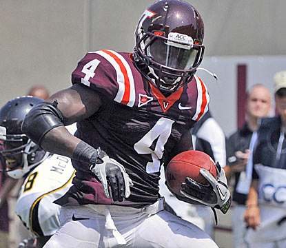 David Wilson scores the last of his three touchdowns, as the Hokies rout Appalachian State. (AP)