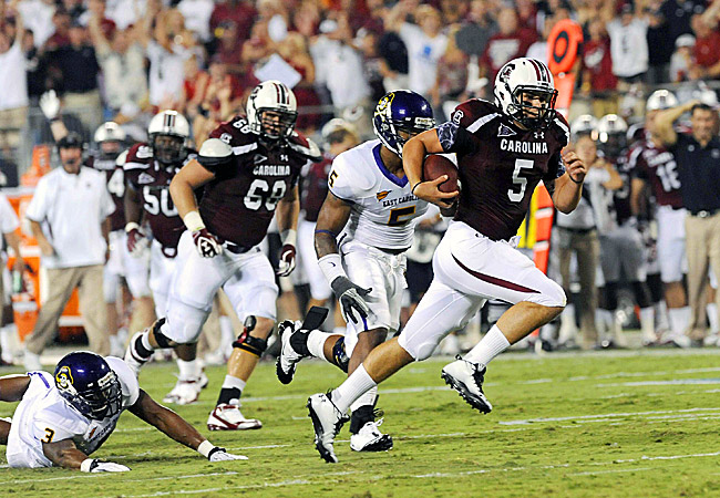 South Carolina's Stephen Garcia runs for a touchdown against East Carolina on Saturday. (US Presswire)