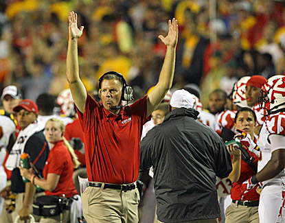 Maryland coach Randy Edsall, making his coaching debut for the Terps, celebrates a touchdown in the first half against Miami. (US Presswire)