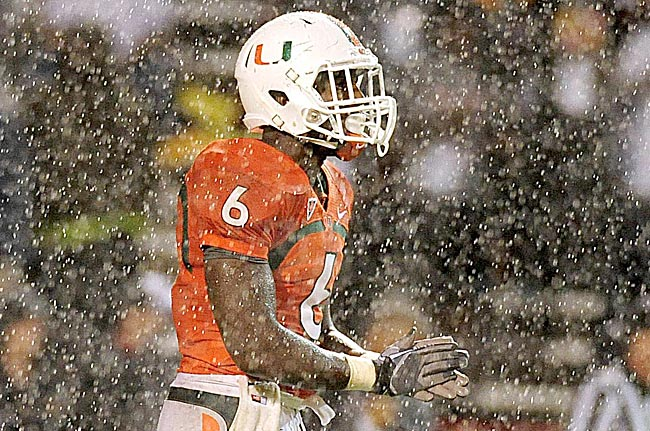 Even when it's game time, there's a cloud over Lamar Miller and the Hurricanes. (US Presswire)