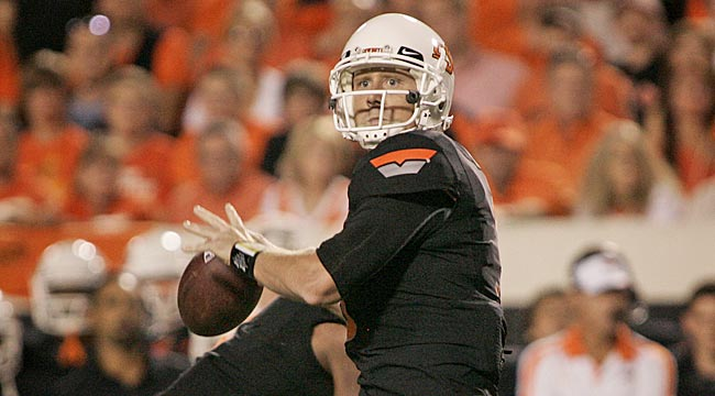 At nearly age 28, Brandon Weeden prides himself on being the calm in Oklahoma State's storm. (Getty Images)