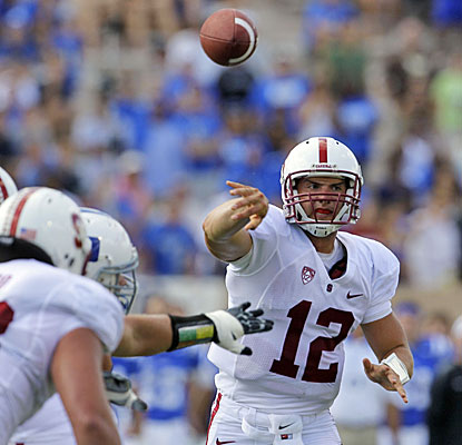Andrew Luck matches his career high with four touchdown passes as Stanford pulls away after a sluggish start.  (AP)