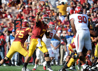 USC QB Matt Barkley passes for 263 yards and a TD while helping USC win the Pac-12 opener.  (Getty Images)
