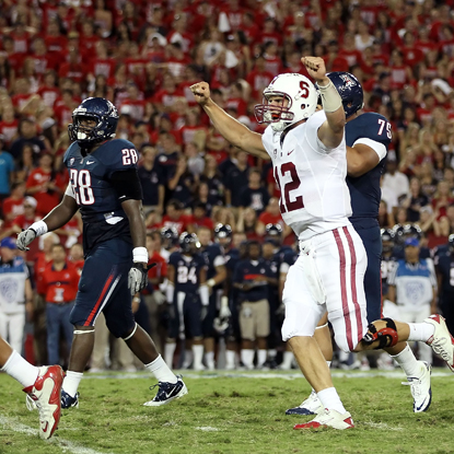Andrew Luck finishes with 325 yards and two touchdowns during Stanford's win over Arizona. (Getty Images)