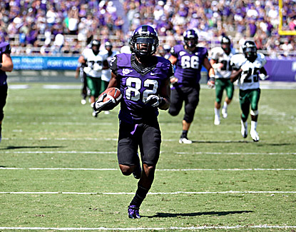 TCU's Josh Boyce races 66 yards for a touchdown against Portland State in the Horned Frogs' win. (US Presswire)