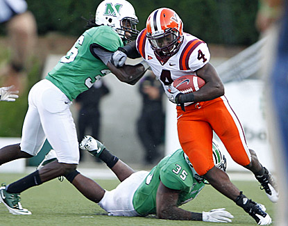 Virginia Tech's David Wilson breaks free for some of his 132 rushing yards against Marshall. (US Presswire)