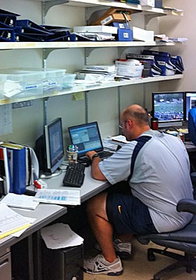 WVU grad assistant Vince Cashdollar rises early to chart LSU tendencies from his 'office.' (CBSSports.com Original)
