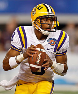 Jefferson's attorney says LSU has lifted the QB's suspension following the news of the reduced charge. (US Presswire)