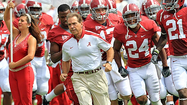 Nick Saban has the Crimson Tide up to No. 2 in the AP poll after rolling over Florida. (US Presswire)