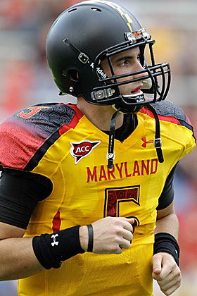 Is it the unis? Whatever it is, Maryland's Danny O'Brien is struggling. (Getty Images)