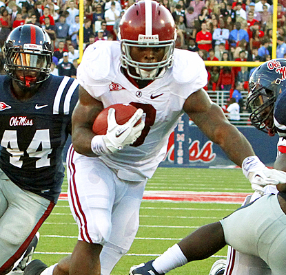 Trent Richardson runs in for a touchdown against Ole Miss during the second quarter. (Getty Images)