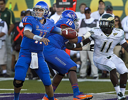 Boise State quarterback Kellen Moore throws for 338 yards and four touchdowns in the 63-13 win. (US Presswire)