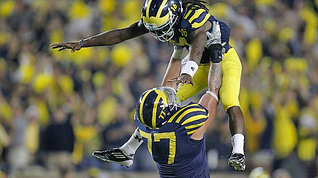 Denard Robinson's late magic in a win over Notre Dame is the first half's best performance. (US Presswire)