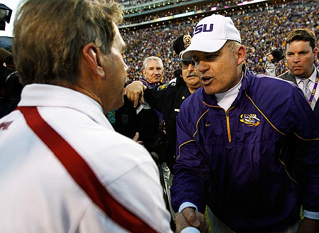 Les Miles will greet Nick Saban on less friendly turf on Nov. 5, when LSU visits 'Bama. (Getty Images)