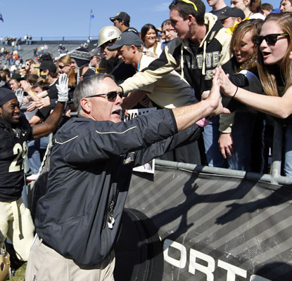 Coach Danny Hope and Purdue fans celebrate the team's first win over a ranked opponent since beating Ohio State in 2009. (AP)