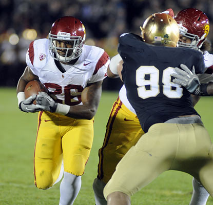 Marc Tyler and the Trojans keep the Irish in check as they improve to 6-1 on the season. Notre Dame drops to 4-3. (AP)