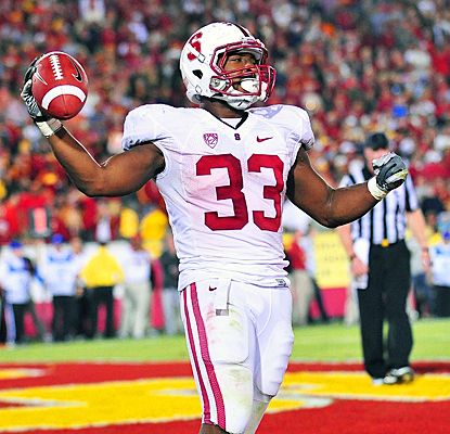 Stanford's Stepfan Taylor celebrates after scoring a touchdown during overtime against USC. (US Presswire)