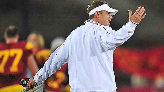 Lane Kiffin says his 2-year-old son could have spotted the ball better on Saturday night. (US Presswire)