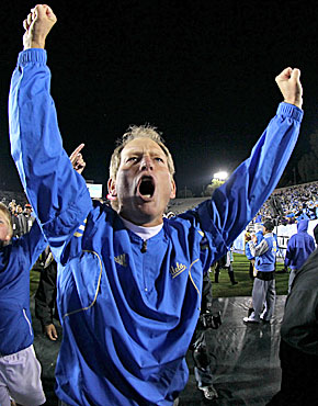 Rick Neuheisel pulls UCLA into the Pac-12 South driver's seat. (Getty Images)