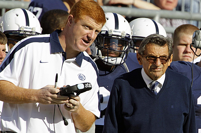Mike McQueary (left) reportedly told Paterno about the locker room incident involving Sandusky in 2002. (AP)