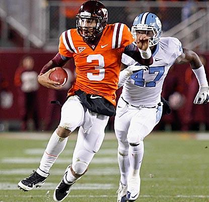 Virginia Tech QB Logan Thomas accounts for three TDs to lead the Hokies past North Carolina. (Getty Images)