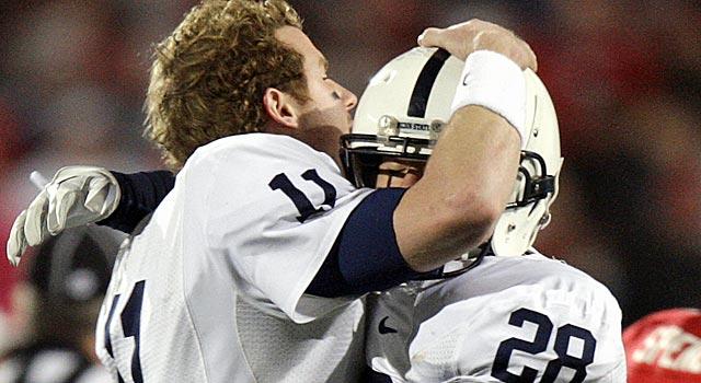 Penn State's Matt McGloin, left, and Drew Astorino celebrate the Nittany Lions' win at Ohio State. (AP)