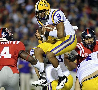 Quarterback Jordan Jefferson helps LSU match its best start since 1958 by hammering Ole Miss. (AP)