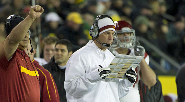 Kiffin's Trojans move Oregon out of the BCS picture, leaving just three SEC teams at the top. (US Presswire)