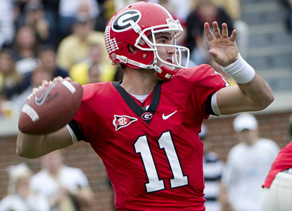 Aaron Murray throws for 243 yards and four scores on 19 of 29 passing to extend the Bulldogs' winning streak to 10. (Getty Images)