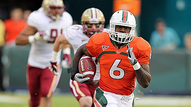Lamar Miller showed his breakaway speed against Boston College. (US Presswire)