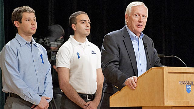 New Penn State President Rob Erickson addresses students Wednesday night at a town hall forum. (AP)