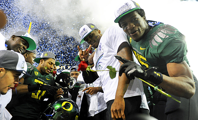 While the Ducks celebrate winning the Pac-12 title, they know they need to get a win in a BCS bowl. (AP)