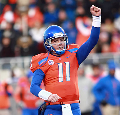 Boise State's Kellen Moore celebrates one of his three TDs in the final home game of his college career. (US Presswire)