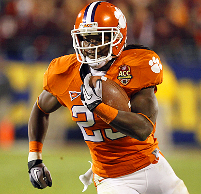 Clemson's Andre Ellington runs all over Virginia Tech for 125 yards and a touchdown on 20 carries. (US Presswire)