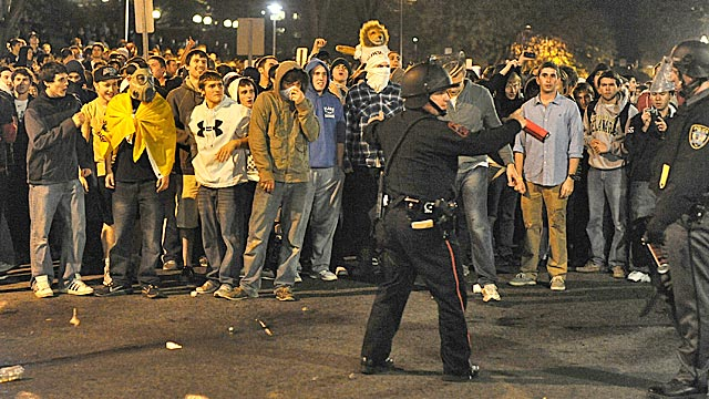 Angry Penn State students take to the streets after Joe Paterno's abrupt firing. (Getty Images)