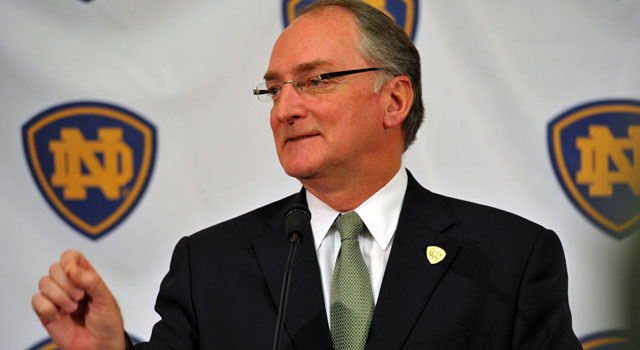 Notre Dame AD Jack Swarbrick says he's not a big Plus-One fan. (US Presswire)