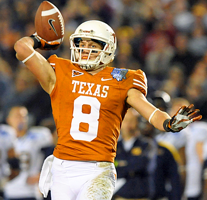 Texas gets creative to score on offense as Jaxon Shipley throws a four-yard touchdown to David Ash. (US Presswire)