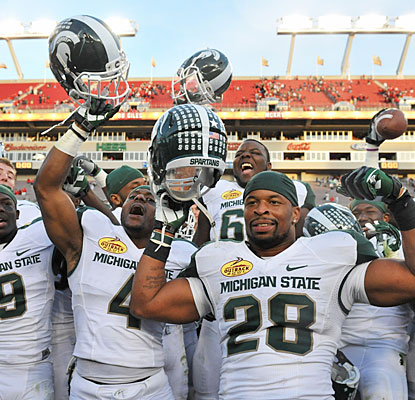 Michigan State comes back after trailing 16-0 to earn its first bowl victory since 2001.  (Getty Images)