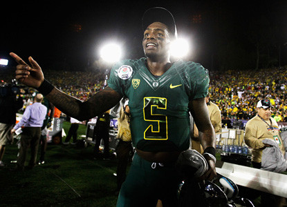 Darron Thomas has a huge hand in the Ducks' first Rose Bowl win in 95 years, throwing for 268 yards and three scores. (Getty Images)