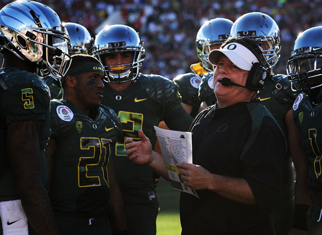 Ducks' coach Chip Kelly has launched Oregon Football to an elite brand. (Getty Images)