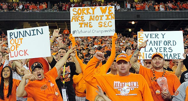 Big 12 champion Oklahoma State (12-1) and its fans probably would prefer a playoff. (US Presswire)