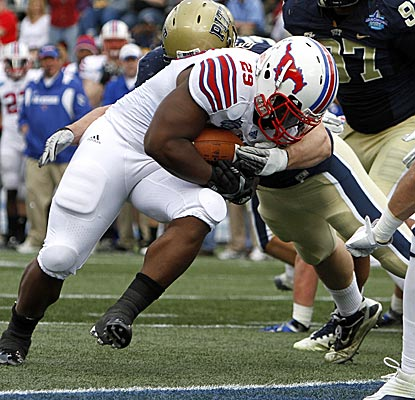 Rishaad Wimbley makes the most of his six carries, scoring two touchdowns in SMU's Compass Bowl victory over Pittsburgh. (AP)