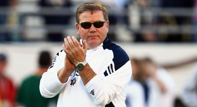 Brian Kelly is the latest coach to nab the nation's best quarterback recruit. (US Presswire)