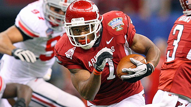 After missing all of 2011, Arkansas running back Knile Davis is a Heisman candidate in 2012. (US Presswire)