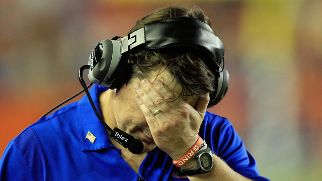 Will Muschamp couldn't hide from all the misfortunes during his first season in Florida. (Getty Images)