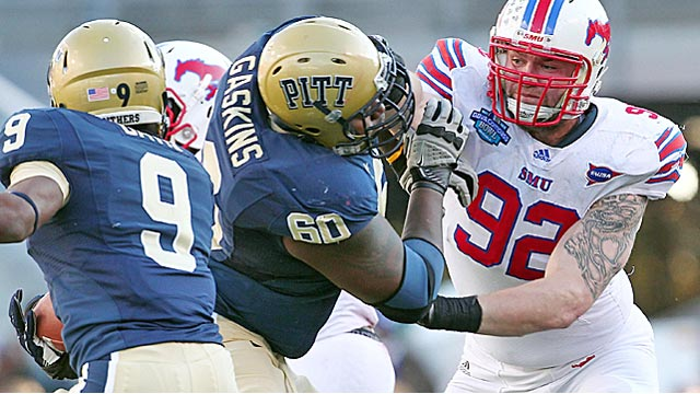 SMU DE Margus Hunt has an 82-inch wingspan and benches 225 pounds 35 times. (US Presswire)