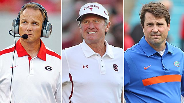 Richt's Bulldogs are favorites, but don't count out Spurrier's Gamecocks or Muschamp's Gators. (US Presswire)
