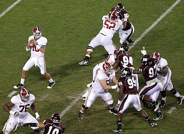 The Crimson Tide may have its best offensive line since coach Nick Saban took over in 2007. (Getty Images)